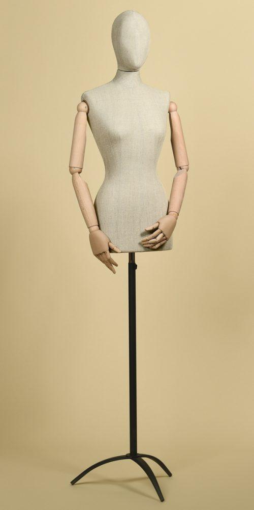 busto sartoriale donna testa misto lino braccia base treppiede ferro