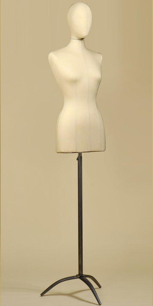 Busto-donna-con-testa-cotone-panama-treppiede-ferro