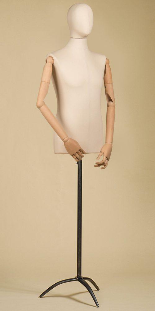 Busto-uomo-testa-cotone-panama-braccia-treppiede-ferro