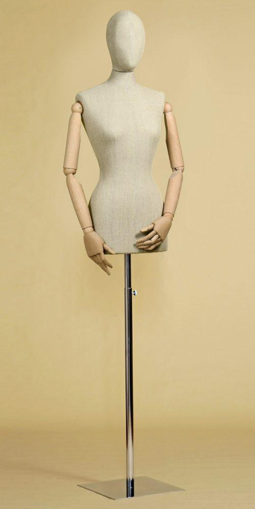 busto-donna-sartoriale-misto-lino-testa-braccia-base-cromo-quadra