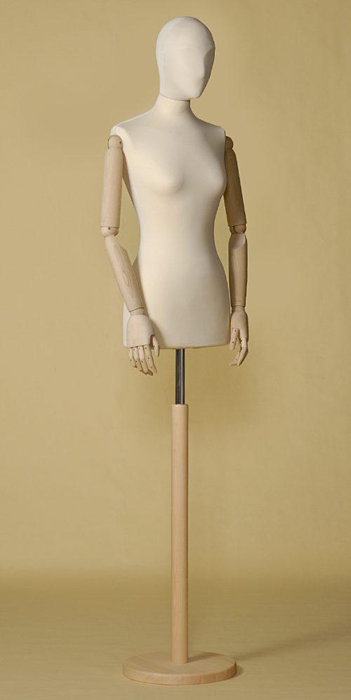 busto-sartoriale-donna-ecru-braccia-base-tonda-legno