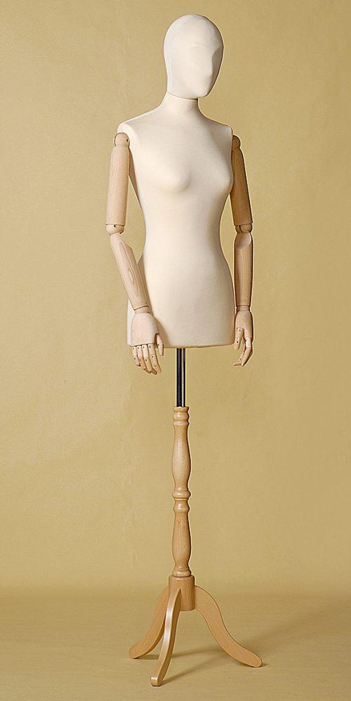 busto-sartoriale-donna-ecru-braccia-treppiede-legno