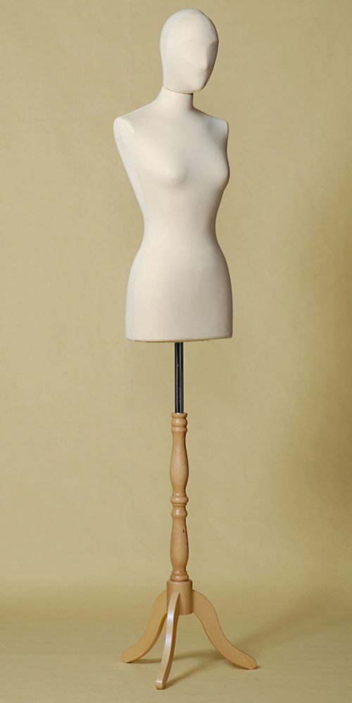 busto-sartoriale-donna-testa-ecru-treppiede-legno