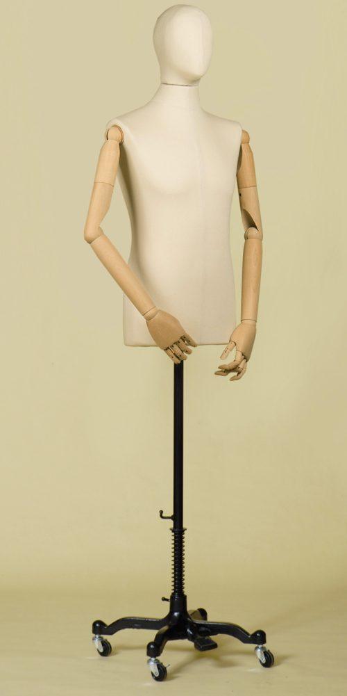 busto-sartoriale-uomo-cotone-panama-braccia-base-ruote