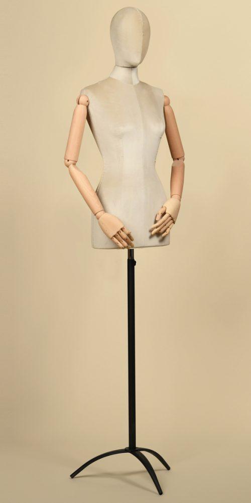 busto-sartoriale-donna-velluto-ghiaccio-braccia-legno