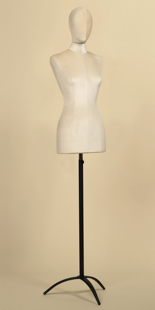 busto-sartoriale-donna-velluto-ghiaccio-senza-braccia-treppiede-ferro