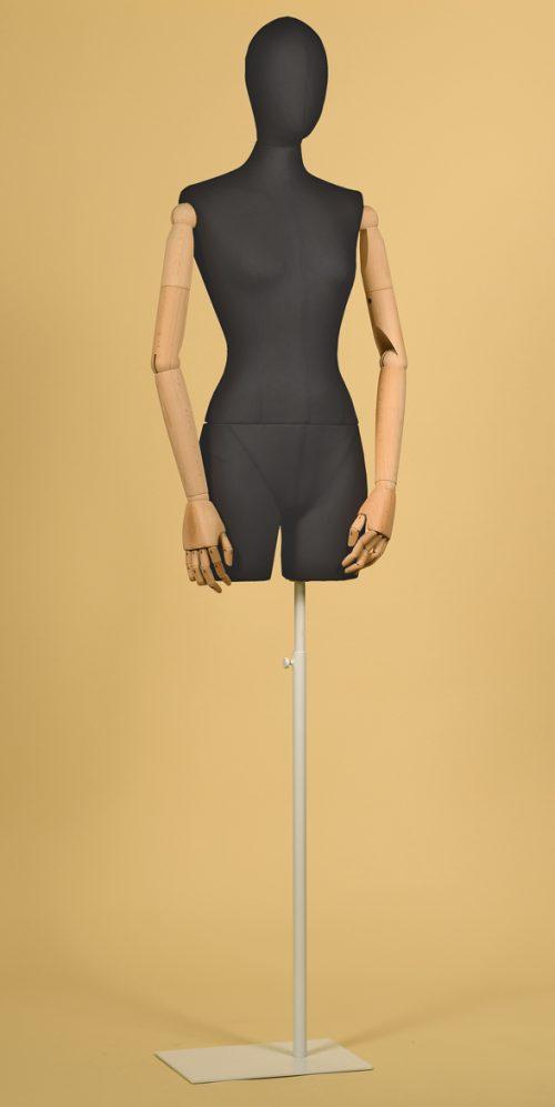 busto-donna-sartoriale-braccia-cotone-nero-base-bianca