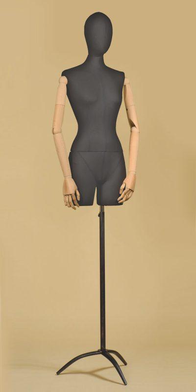 busto-donna-sartoriale-coscia-braccia-cotone-nero-treppiede