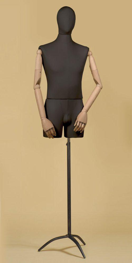 busto-sartoriale-uomo-braccia-coscia-cotone-nero-treppiede